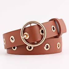 <b>Winfox Fashion</b> Black <b>Red</b> Punk PU Leather Belt For Women Gold ...