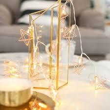 <b>LED Rose Gold Pentagon</b> Star String Light Room Decoration Lamp ...