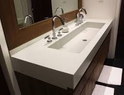 stainless steel sink racks ampquot whitehaven: master bath trough sink bathroom large trough sink with double stainless steel taps and double