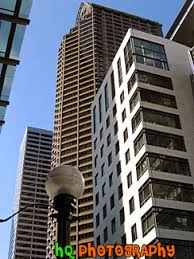 104 a scenic photo of many tall office buildings taken in downtown seattle washington on a beautiful sunny day seattle is home to many tall office beautiful office buildings