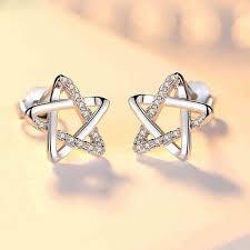 <b>Fashion</b> Shining Star Silver Cute <b>Zircon</b> Star <b>Hollow</b> Earring Studs ...