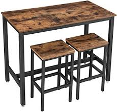 VASAGLE Bar Table Set, Bar Table with 2 Bar Stools ... - Amazon.com