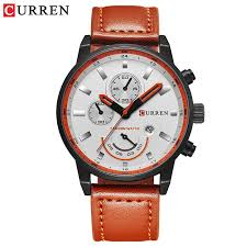 <b>CURREN</b> Men's Leather <b>Casual Quartz</b> Watch <b>Military</b> Waterproof ...