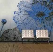paint living room walls blue floral