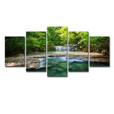 Canvas Paintings <b>Wall Art Framework</b> Home Decor <b>5</b> Pieces Green ...