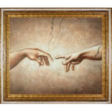 <b>Hand</b>-painted Oil Reproduction of Michelangelo's <i><b>Creation of Adam</b>
