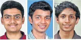 Special Arrangement Basil Koshy Sajeev, Arun Ashokan and Abid Ali\ Khan who won the first three ranks respectively in the medical entrance examination. - kerala_medical_ent_1896289f