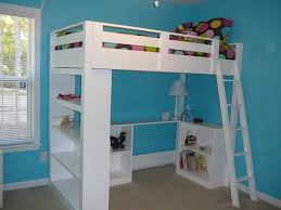 white wooden loft bed and desk underneath bed with office underneath