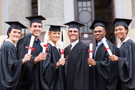 college graduate career search guide for business networking group of young college graduates and professor at graduation