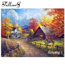 2019 <b>FULLCANG Diamond</b> Painting Country Landscape Handmade ...