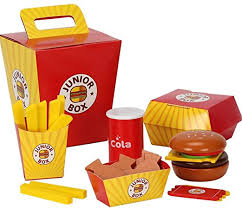<b>6</b>-<b>Piece Pretend</b> Food <b>Toys Wooden</b> Burger Fries Set for Kitchen ...
