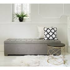 Modern Bedroom Benches Buttons Grey Ottoman Ottoman Storage French Bedrooms And French