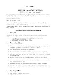 10 cashier responsibilities resume recentresumes com resume format for cashier duties of a retail cashier cadbury world