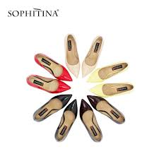 SOPHITINA Brand <b>Genuine</b> Leather Pumps <b>Sexy</b> Pointed Toe Super ...