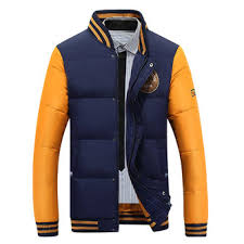 mens outdoor leisure stitching baseball down coat casual striped ...