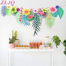 ZLJQ <b>3M</b> Tropical <b>Flamingo</b> Leaves Banner Flower <b>Garland</b> Paper ...