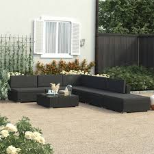 <b>6 Piece Garden Lounge</b> Set Black with Cushions Poly Rattan Sale ...