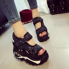 Sandals <b>2019 Spring</b> Summer New Hollow Platform Shoes 10CM ...
