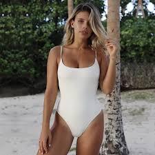 Solid White <b>Simple Vintage</b> One Piece Swimsuit <b>Women</b> Swimwear ...
