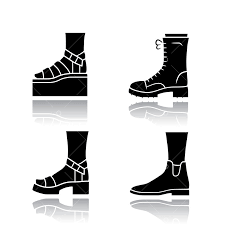 Women <b>trendy shoes</b> drop shadow black glyph icons set. Female ...