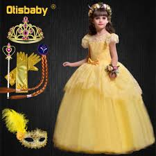 Christmas Halloween Princess Belle Costume Yellow Lace Floral ...