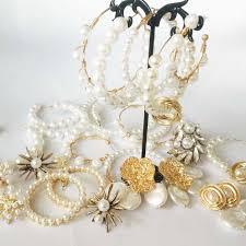 <b>Vintage</b> ZA Pearl Hoop Earrings For Women handmade Weddings ...
