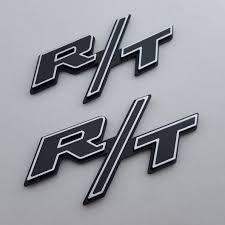 <b>2pcs</b> Classic <b>Black</b> Silver Trim R/T Emblem Badge Trunk <b>fender</b> ...