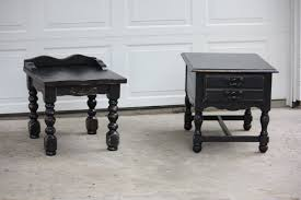 distressed black painted mahogany wood end tables with classic carving awesome distressed end tables ideas awesome black painted mahogany