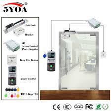 Fingerprint <b>RFID Access Control</b> System Kit Wooden Glasses <b>Door</b> ...