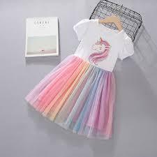 Girls <b>2019 new</b> rainbow <b>unicorn</b> printing children <b>dress</b> skirt ₱836