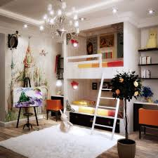 f amazing kids room ideas featuring cool recessed ceiling light fixtures and beautiful chandelier above white square fur rugs plus bunk beds which has artistic bedroom lighting ideas
