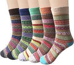 5-6 Pairs <b>Womens</b> Wool Socks <b>Vintage Soft</b> Cabin Warm Socks ...