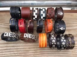Punk <b>Genuine Leather Men</b> Women's Wrap Bracelet Wristband ...