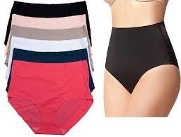 6 12 <b>Womens High-Waisted Tummy</b> Control Briefs Laser Cut ...