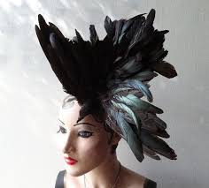 Black Bird <b>Hat</b>, <b>Feather Fascinator</b>, Taxidermy Headpiece, High ...
