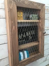 country themed reclaimed wood bathroom storage: bathroom medicine cabinet country chic cabinet shabby chic storage hanging wall cabinet chicken wire cabinet primitive cabinet