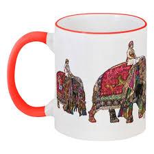 """Кружка с цветной ручкой и ободком <b>Индия</b> """"<b>Фестиваль слонов</b>"""""""