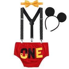 <b>4pcs Set</b> Cute Mickey Mouse Clothes for <b>Baby Boy Girl</b> 1st Birthday ...