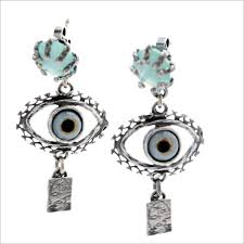 <b>silver</b> with handpainted glas eye and facetted aqua agate from our ...