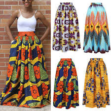 Womens <b>African</b> Print High Waist Party Vintage <b>Ethnic Style</b> Maxi ...