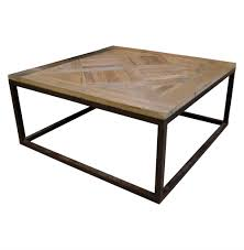 Iron Coffee Tables Gramercy Modern Rustic Reclaimed Parquet Wood Iron Coffee Table