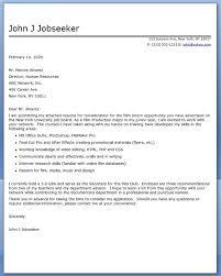 film internship cover letter examples cover letter for film internship