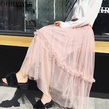 OHRYIYIE <b>Tulle</b> Beading Skirt Women <b>2019</b> New <b>Spring Summer</b> ...