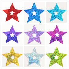 <b>70mm</b> 50pcs/lot <b>Colors Hollow</b> Five Pointed Sta for Clothing ...