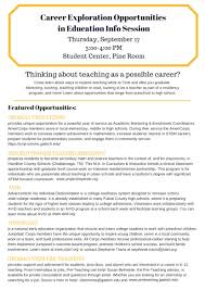 sept career exploration opportunities in education info 17 career exploration opportunities in education info session