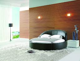minimalist bedroom design with oval bed and wooden wall panel and simple wall lighting 24 bedroom bedroom wood wall panel