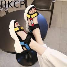 <b>HKCP Fashion</b> 2019 summer new <b>Korean</b> sequin sandals female ...