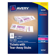 com avery tickets tear away stubs inches x  com avery tickets tear away stubs 1 75 inches x 5 5 inches matte white pack of 200 16154 all purpose labels office products