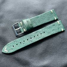 Handmade Green 18 20 22MM <b>Ostrich Leather Retro</b> Strap Simple ...