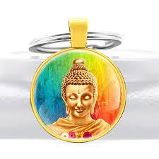 Gold Color Holy Buddha <b>Statue Glass</b> Dome Pendant Key Chain ...